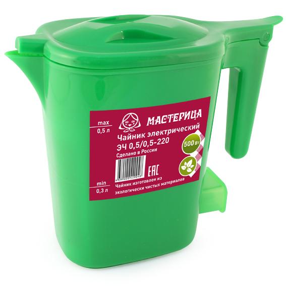 Чайник Мастерица ЭЧ 0.5/0.5-220З 500ml Green чайник мастерица эч 1 0 0 8 220 белый