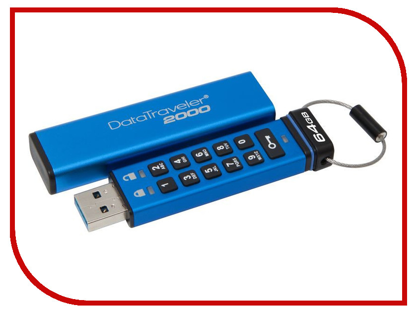 Купить USB Flash Drive 64Gb - Kingston FlashDrive Data Traveler 2000 DT2000/64GB