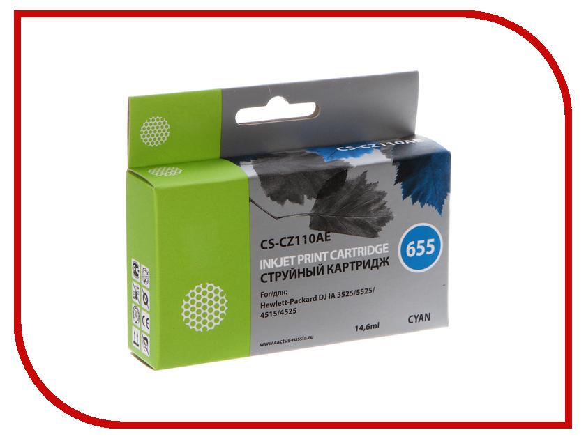 Купить Картридж Cactus CS-CZ110AE №655 для HP DJ IA 3525/5525/4515/4525 Blue