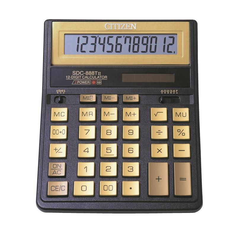 купить калькулятор citizen sdc 554s Калькулятор Citizen SDC-888TIIGE Gold - двойное питание