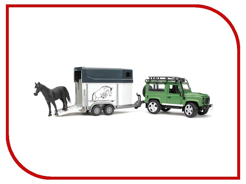 Купить Игрушка Bruder Land Rover Defender внедорожник с прицепом-коневозкой и лошадью 02-592, Land Rover Defender Внедорожник с прицепом-коневозкой и лошадью 02-592, Германия