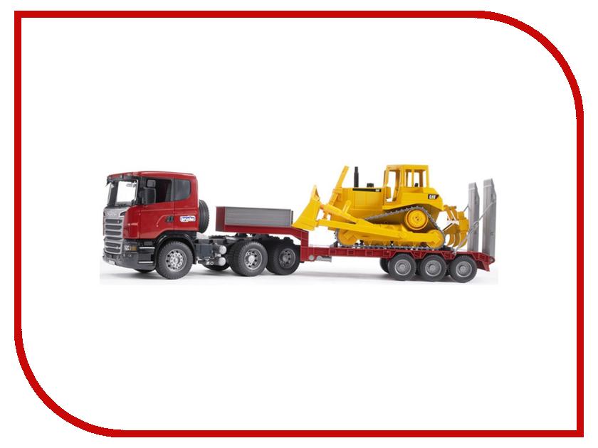 Купить Игрушка Bruder Scania тягач с прицепом–платформой и гусеничным бульдозером CAT 03-555, Scania Тягач с прицепом–платформой и гусеничным бульдозером CAT 03-555, Германия