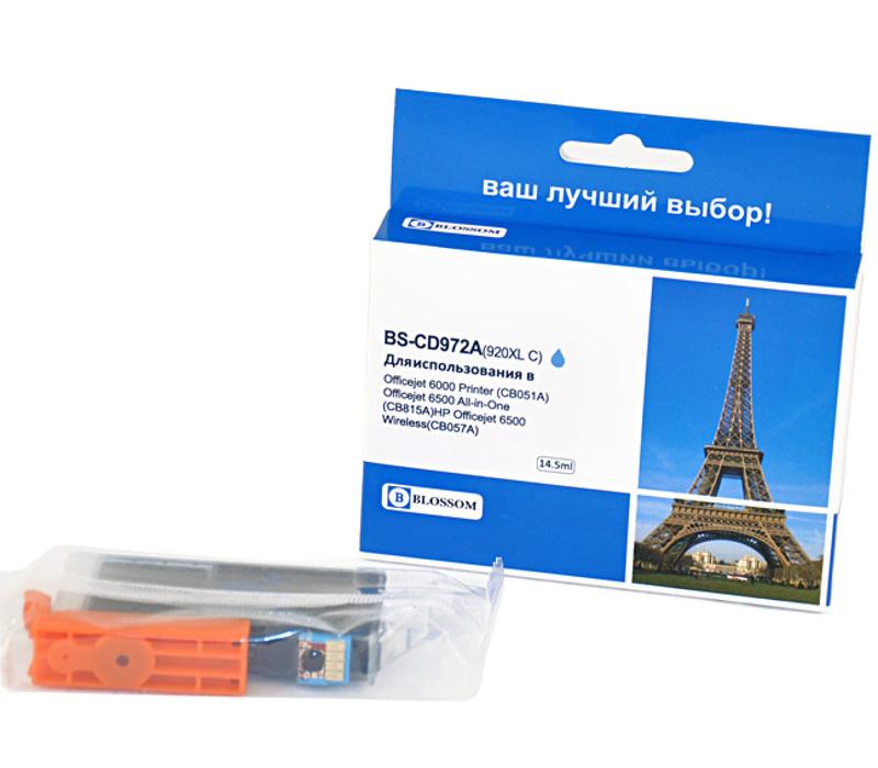 картридж hp 920xl officejet cd972ae cyan для 6000 6500 7000 Картридж Blossom BS-CD972A 920XL Cyan для HP Officejet 6000/6500/7000/7500
