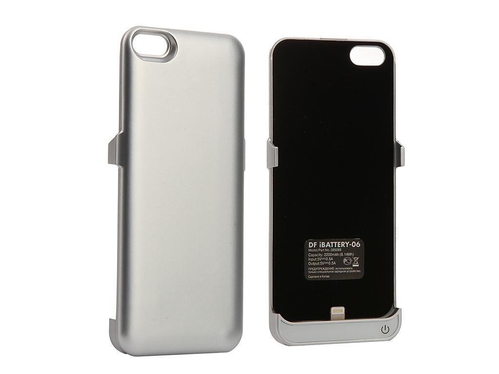держатель Аксессуар Чехол-аккумулятор DF для APPLE iPhone 5 / 5S / SE 2200 mAh iBattery-06 Silver