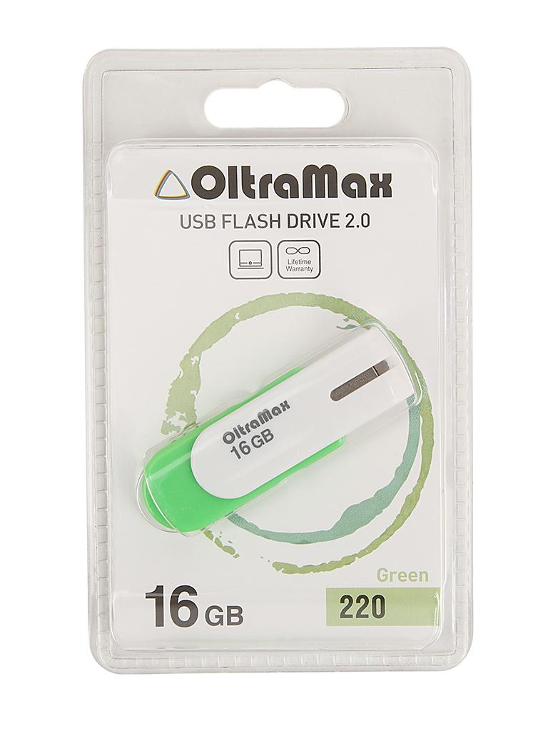 USB Flash Drive 16Gb - OltraMax 220 OM-16GB-220-Green usb flash drive 16gb oltramax 50 om 16gb 50 orange red