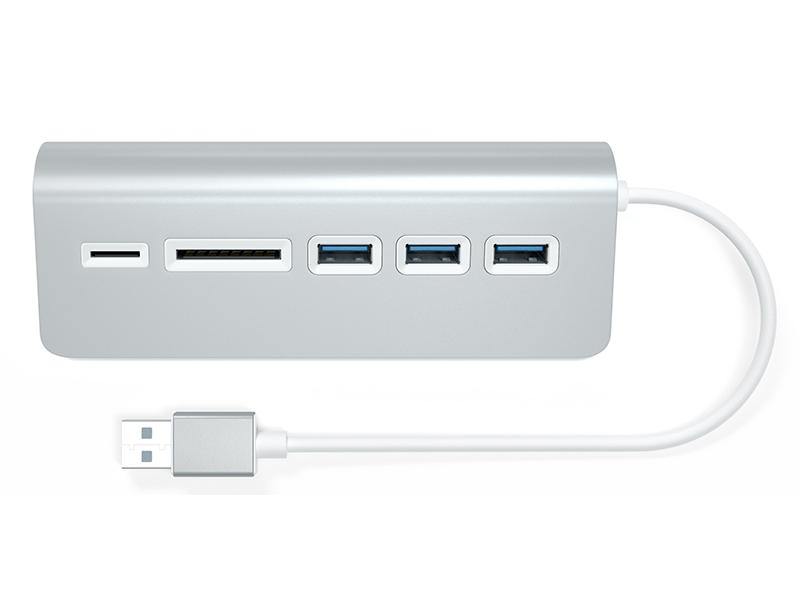 Хаб USB Satechi Aluminum 3.0 Hub & Card Reader Silver ST-3HCRS