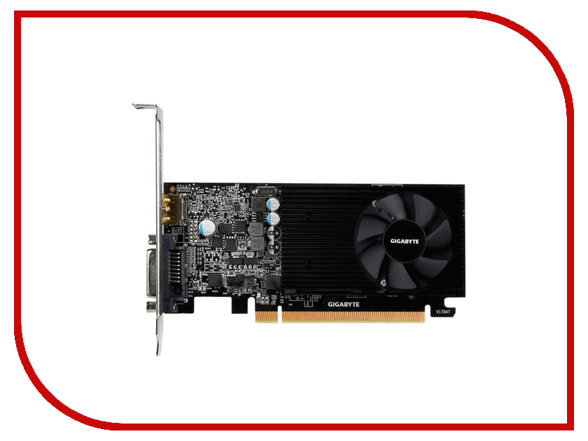 Видеокарта GigaByte GeForce GT 1030 1227Mhz PCI-E 3.0 2048Mb 6008Mhz 64 bit DVI 2xHDMI HDCP Low Profile GV-N1030D5-2GL