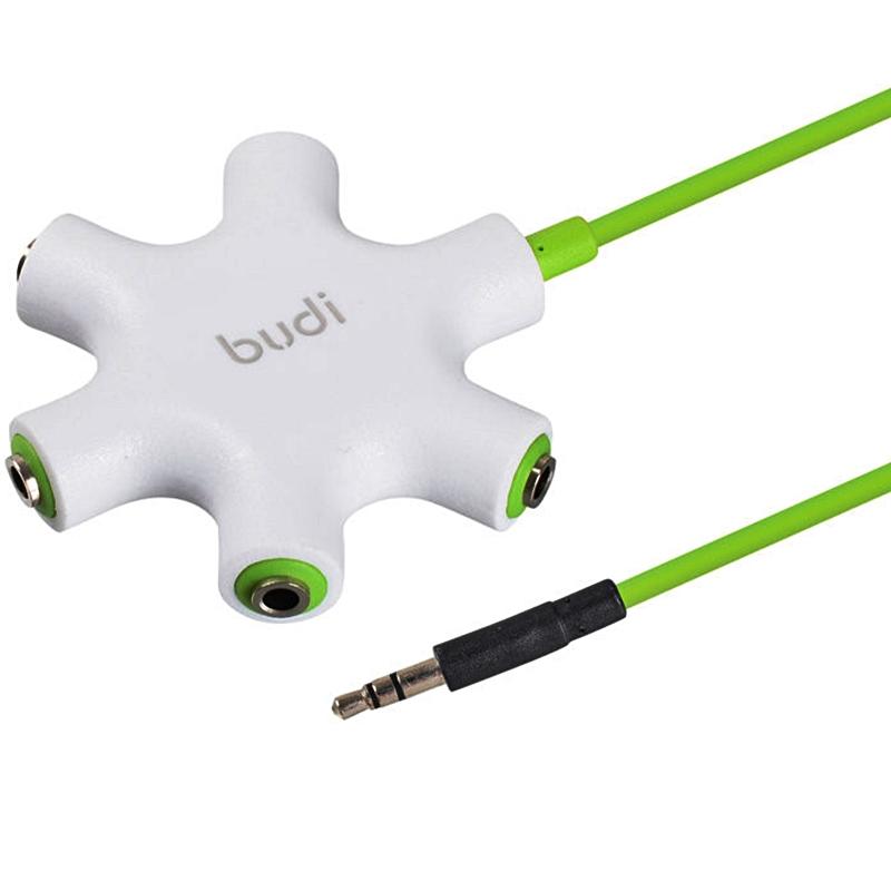 Купить Аксессуар Budi M8J022 Rockstar + AUX 3.5mm 60cm Green - разветвитель для наушников