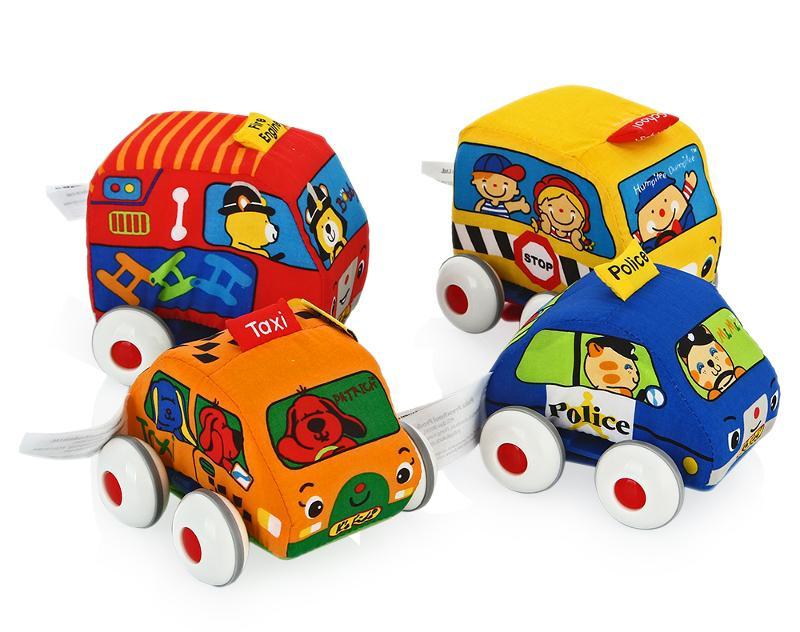 игрушки для детей машинки Игрушка Ks Kids Машинки мягкие с инерционным механизмом 4шт KA459