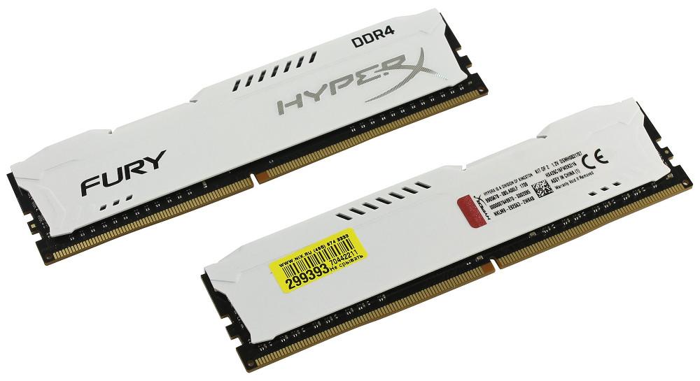Купить Модуль памяти Kingston HyperX Fury White Series DDR4 DIMM 2666MHz PC4-21300 CL16 - 16Gb KIT (2x8Gb) HX426C16FW2K2/16