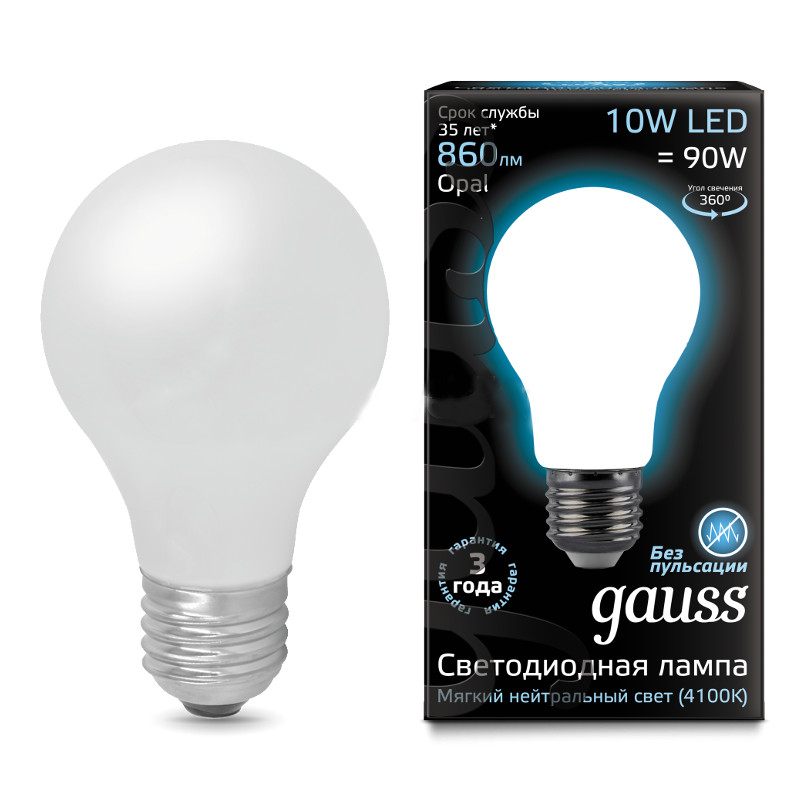 Лампочка Gauss LED Filament Opal E27 A60 10W 4100K 102202210  - купить со скидкой
