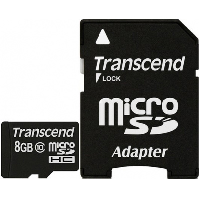 Фото - Карта памяти 8Gb - Transcend - Micro Secure Digital HC Class 10 TS8GUSDHC10 с переходником под SD карта памяти 8gb perfeo micro secure digital hc class 10 pf8gmcsh10aes с переходником под sd