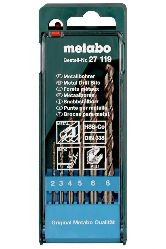 набор сверл зубр профессионал 2 8мм 6шт 29615 h6 Набор сверл Metabo по металлу HSS-Co 2-8mm 6шт 627119000