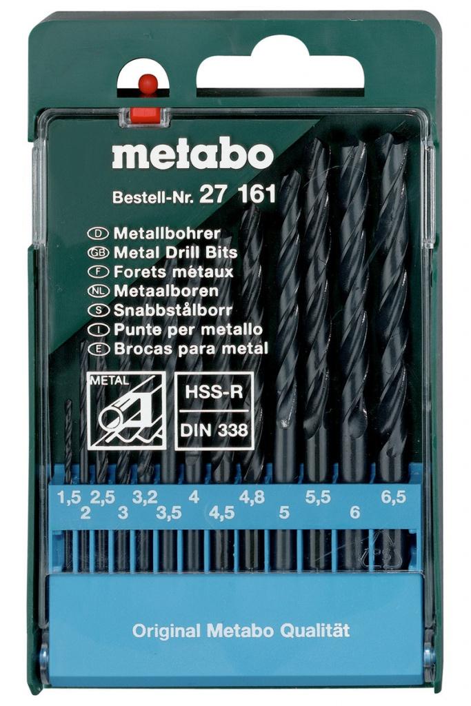 Набор сверл Metabo HSS-R по металлу 1.5-6.5mm 13шт 627161000