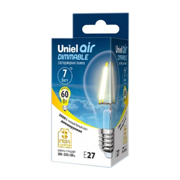 Лампочка Uniel Air LED A60 E27 7W 200-250V 3000K 630Lm Warm White LED-A60-7W/WW/E27/CL/DIM GLA01TR