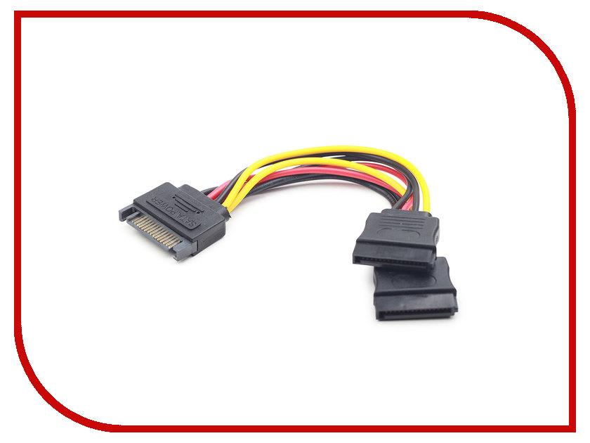 Купить Аксессуар Кабель питания Gembird Cablexpert SATA 15-pin/M - 2x15-pin/F 15cm CC-SATAM2F-01