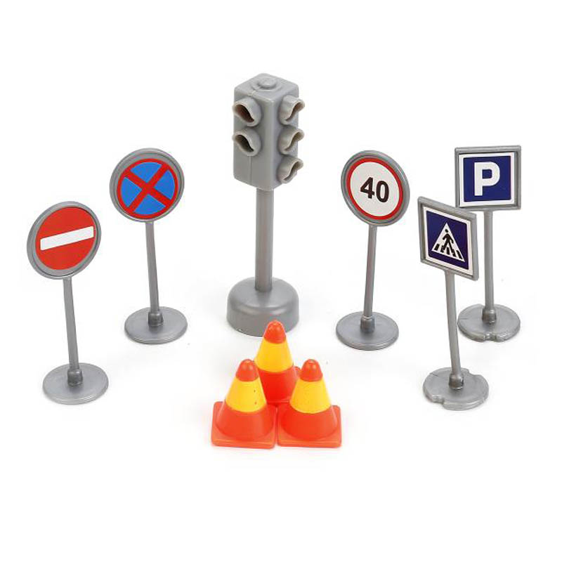 игрушка наша игрушка парковка дорожные работы p2029 Игрушка Технопарк Светофор + дорожные знаки SB-17-21-BLC