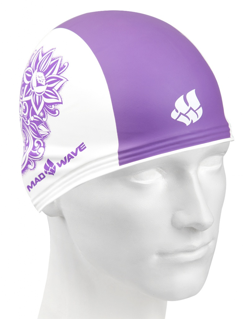 ласты mad wave training размер 33 34 blue m0747 10 2 04w Шапочка Mad Wave Training Flower White/Violet M0553 12 0 09W