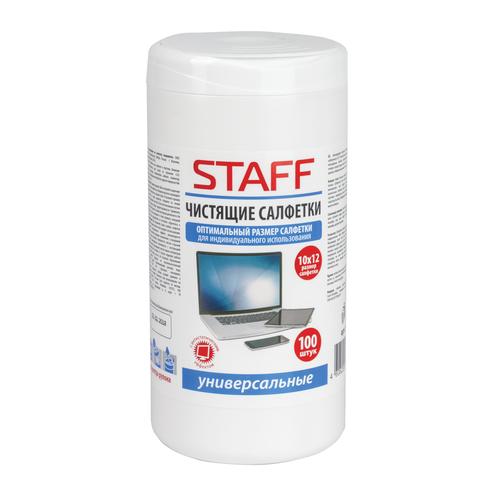 Купить Чистящие салфетки Staff 100шт влажные 512657 для экранов и пластика