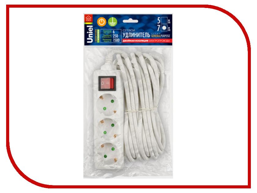 Купить Удлинитель Uniel General 3 Sockets 7m White S-GCP3-7B