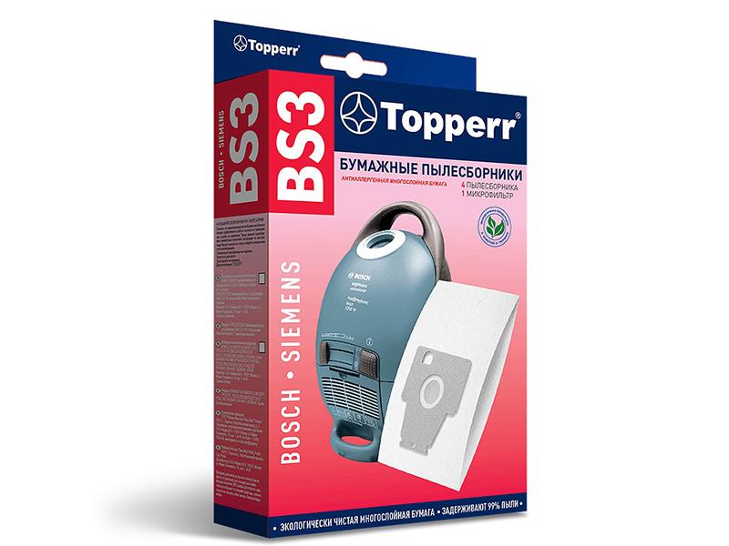 Пылесборники бумажные Topperr BS 3 5шт + 1 микрофильтр пылесборники синтетические topperr bs 20 4шт 1 фильтр для bosch siemens