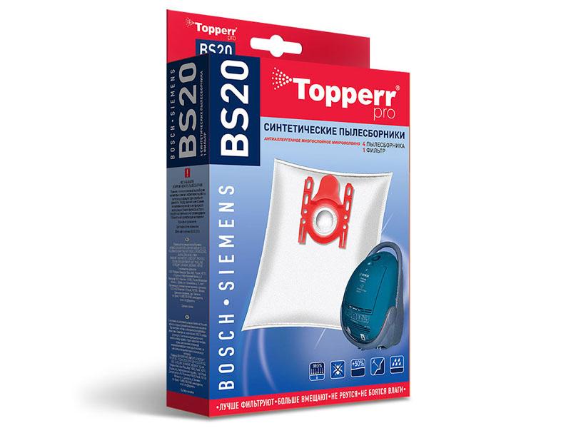 Пылесборники синтетические Topperr BS 20 4шт + 1 фильтр пылесборники синтетические topperr bs 20 4шт 1 фильтр для bosch siemens