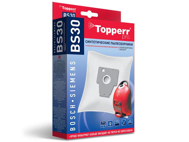 Пылесборники синтетические Topperr BS 30 4шт + 1 фильтр пылесборники синтетические topperr bs 20 4шт 1 фильтр для bosch siemens