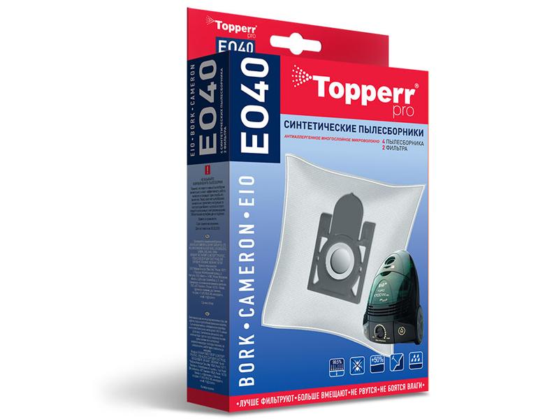 Пылесборники синтетические Topperr EO 40 4шт + 2 фильтра для пылесборники синтетические topperr bs 20 4шт 1 фильтр для bosch siemens