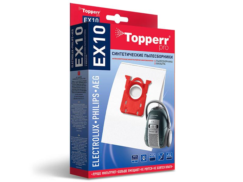 Пылесборники синтетические Topperr EX 10 4шт + 2 фильтра пылесборники синтетические topperr bs 20 4шт 1 фильтр для bosch siemens