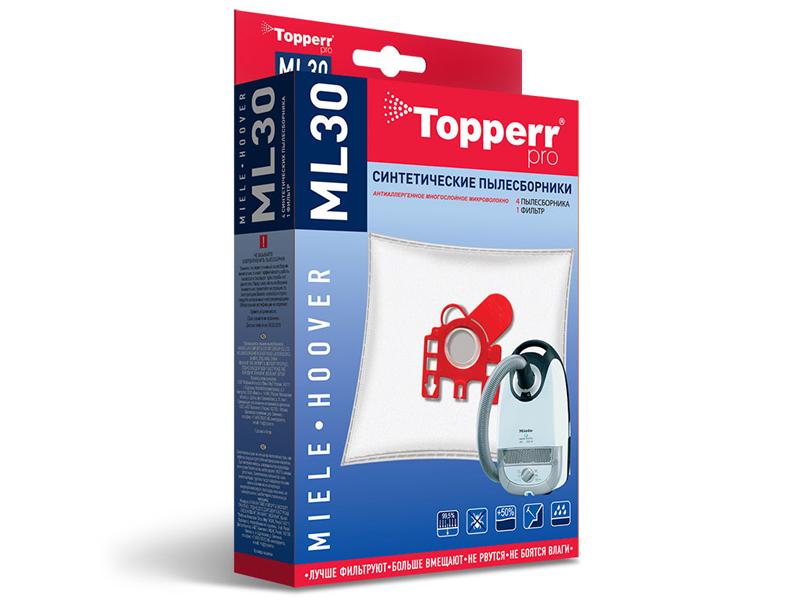 Пылесборники синтетические Topperr ML 30 4шт + 1 фильтр пылесборники синтетические topperr bs 20 4шт 1 фильтр для bosch siemens