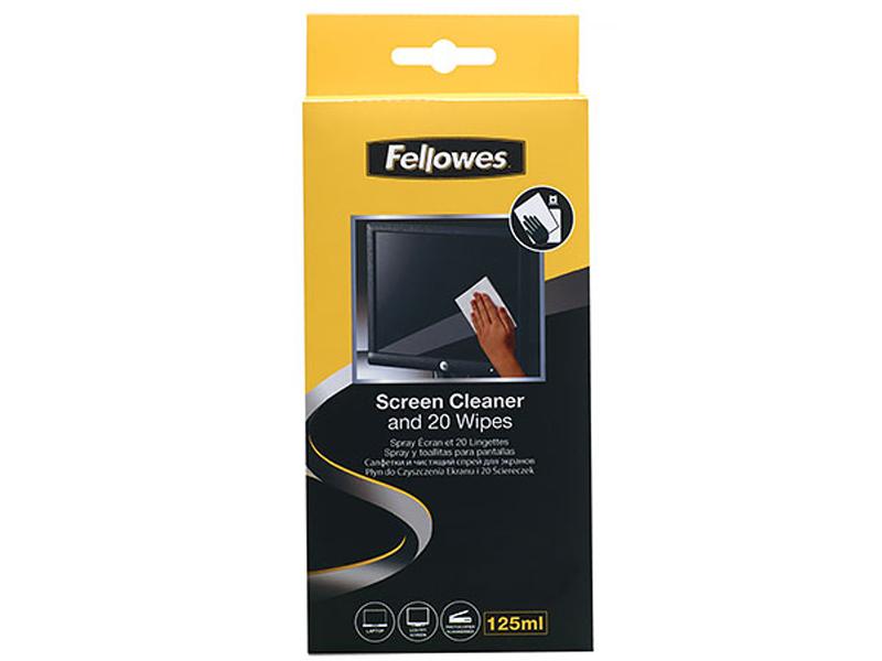 Купить Чистящий набор Fellowes (спрей + салфетки) FS-99701 для экранов и оптики, Чистящий набор для экранов и оптики