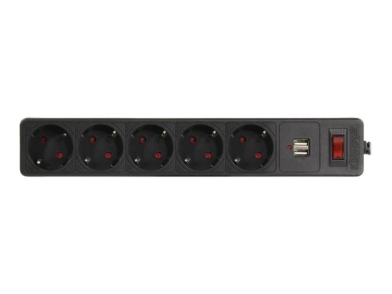 Сетевой фильтр SmartBuy 5 Sockets 1.8m Black SBSP-18U-K