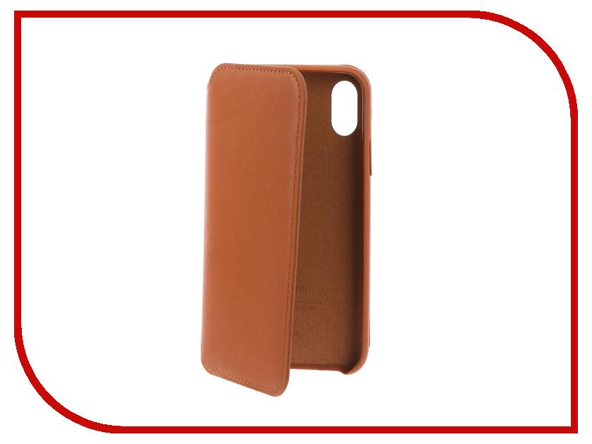 Купить Аксессуар Чехол Krutoff для Apple iPhone X Leather Folio Dark Seddle Brown 10829