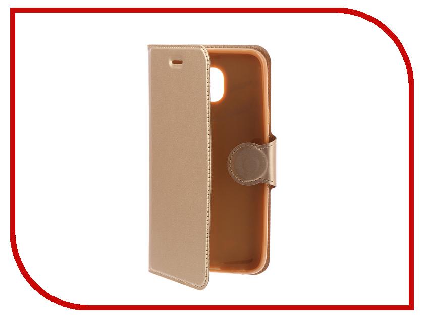 Купить Аксессуар Чехол-книжка Samsung Galaxy J4 2018 Book Type Red Line Gold