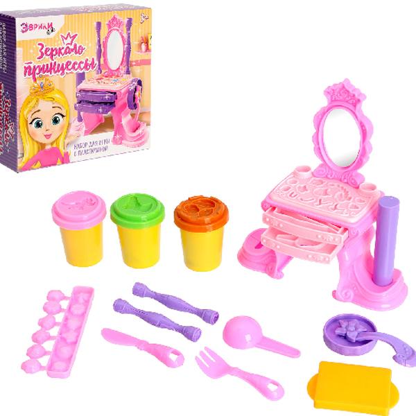 пластишка тесто для лепки Набор для лепки Эврики Набор для игры с пластилином Зеркало принцессы 3017175