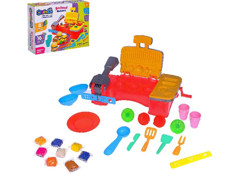 пластишка тесто для лепки Набор для лепки Эврики Набор для игры с пластилином Веселый пикник 2800396