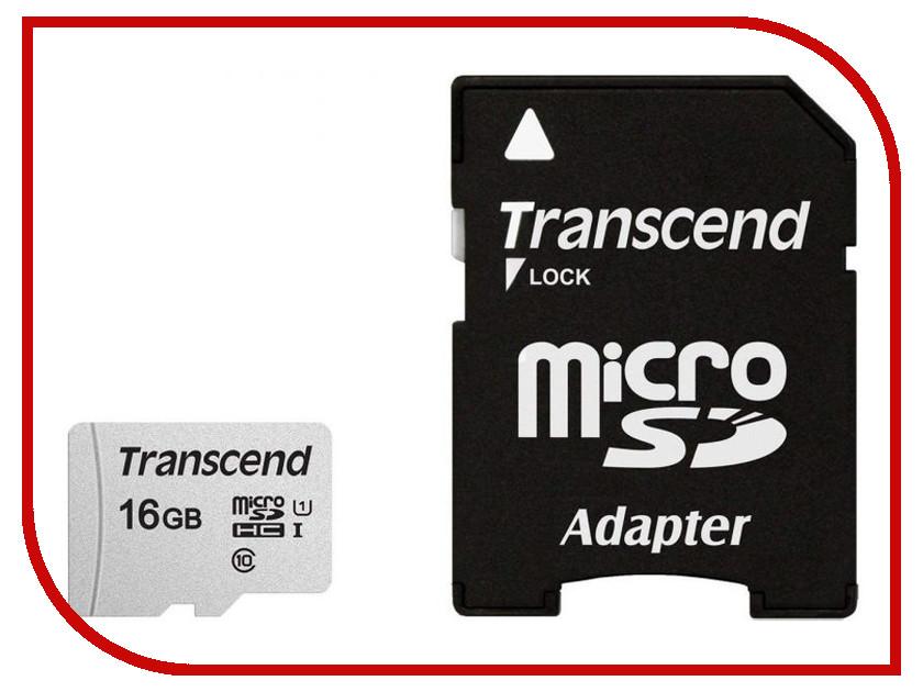 Купить Карта памяти 16Gb - Transcend 300S MicroSDHC Class 10 UHS-I TS16GUSD300S-A