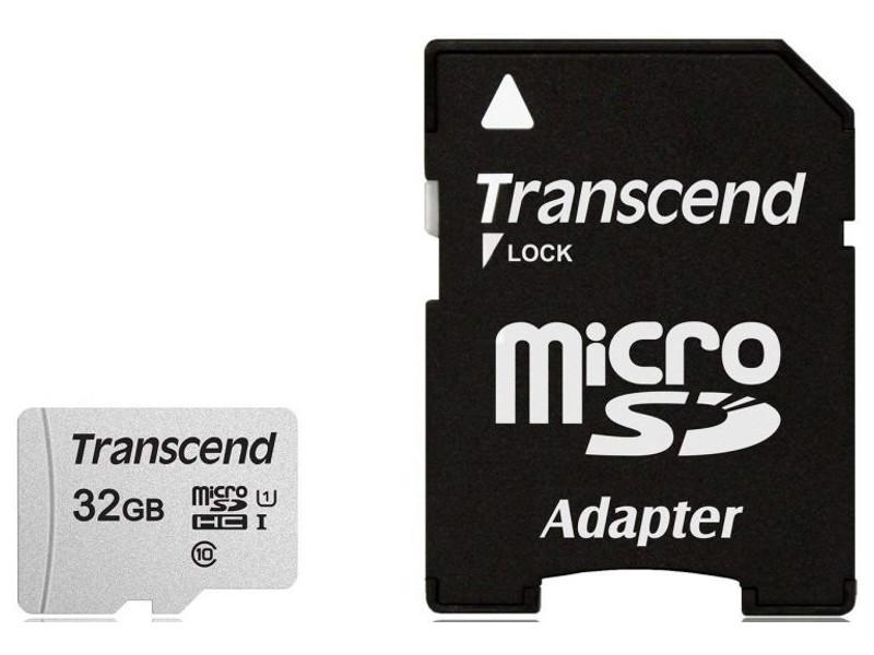 Фото - Карта памяти 32Gb - Transcend 300S MicroSDHC Class 10 UHS-I TS32GUSD300S-A карта памяти transcend microsdhc 32gb 10class 400x ts32gusdcu1