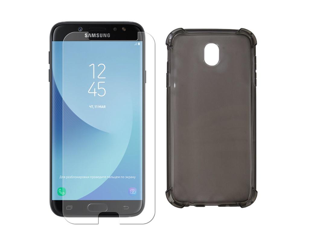галакси j7 Аксессуар Чехол + защитное стекло Innovation для Samsung Galaxy J7 2017 Silicone Black 11796