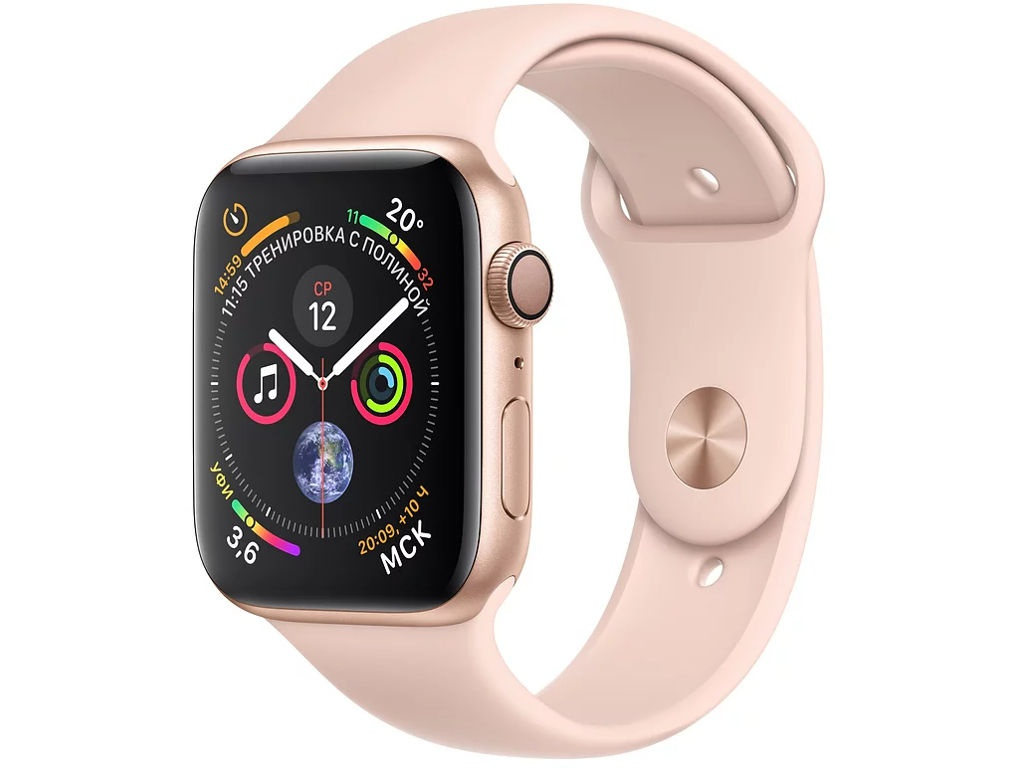 Умные часы APPLE Watch Series4 40mm Gold Aluminium Case with Pink Sand Sport Band MU682RU/A