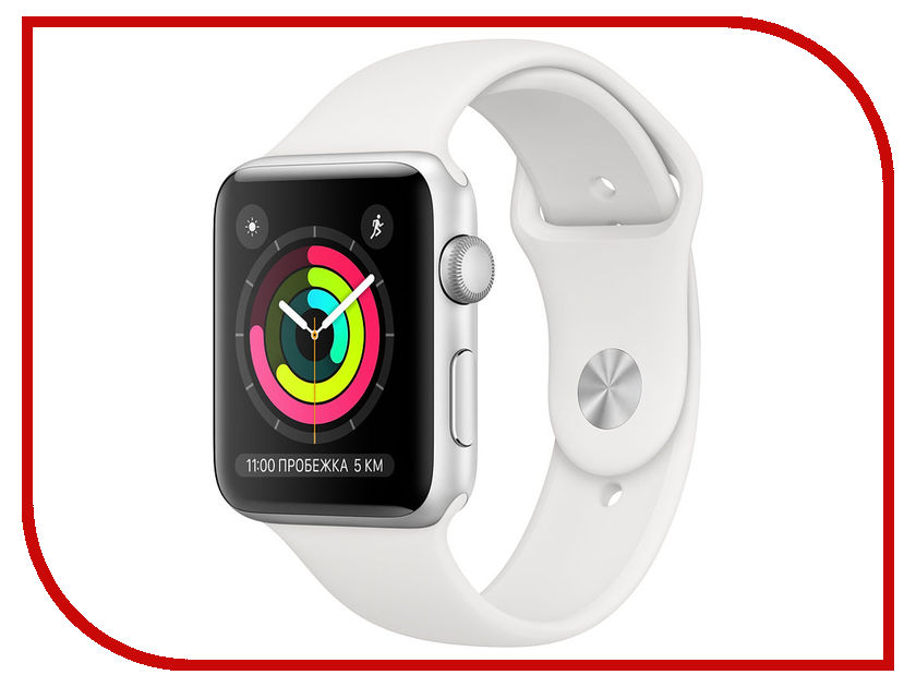Купить Умные часы Apple Watch Series 3 42mm Silver Aluminum Case with White Sport Band, APPLE Watch Series 3