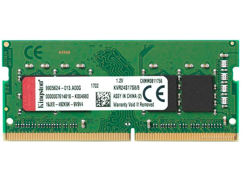Купить Модуль памяти Kingston DDR4 SO-DIMM 2400MHz PC-19200 CL17 - 8Gb KVR24S17S8/8