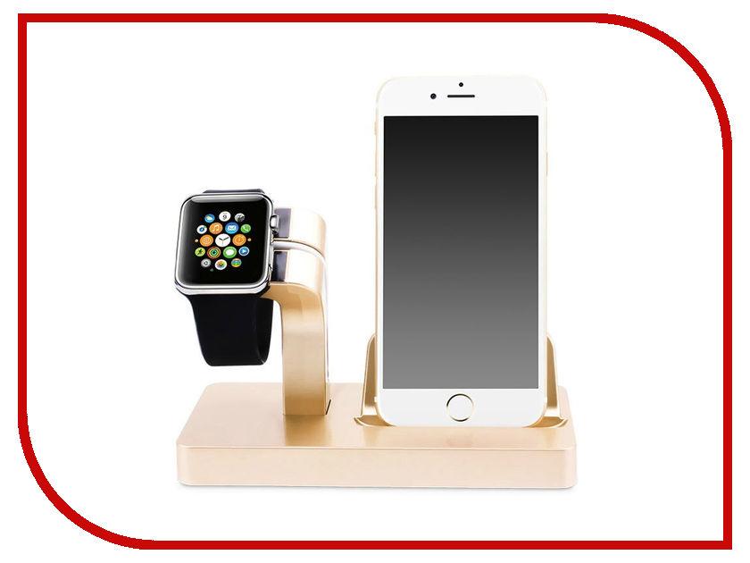 Купить Аксессуар Док-станция Gurdini Smart Apple Watch + Lightning Connector Champagne 904661