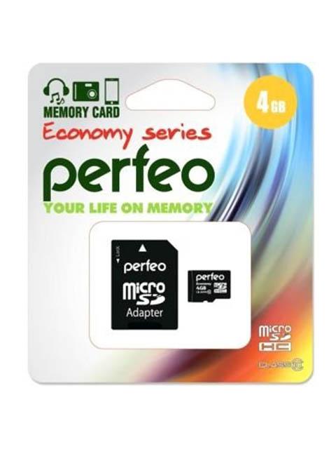 Фото - Карта памяти 4Gb - Perfeo Micro Secure Digital HC Class 10 PF4GMCSH10AES с переходником под SD карта памяти 8gb perfeo micro secure digital hc class 10 pf8gmcsh10aes с переходником под sd