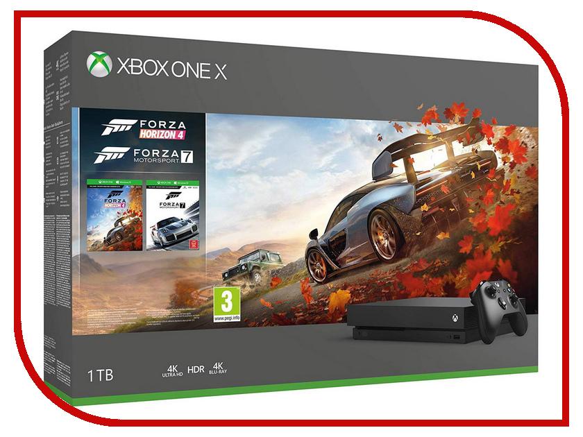 Купить Игровая приставка Microsoft Xbox One X 1Tb Black CYV-00058 + Forza Horizon 4 + Forza Motorsport 7