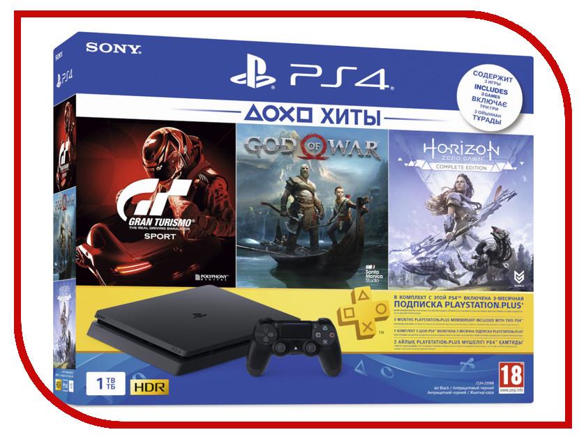 Купить Игровая приставка Sony PlayStation 4 Slim 1Tb Black CUH-2208B + Gran Turismo Sport + God of War + Horizon Zero Dawn CE + PSN 3 месяца