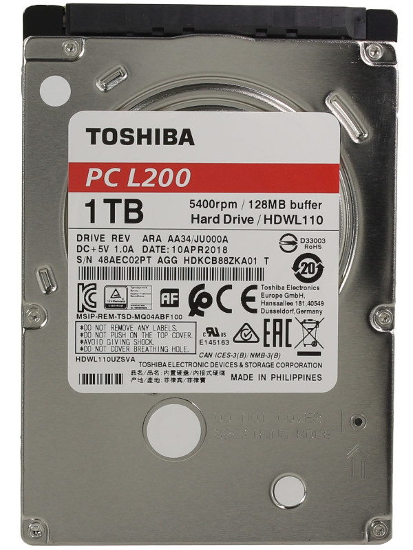 Жесткий диск Toshiba L200 Slim 1Tb HDWL110UZSVA жесткий диск toshiba 1 tb hdwl110uzsva