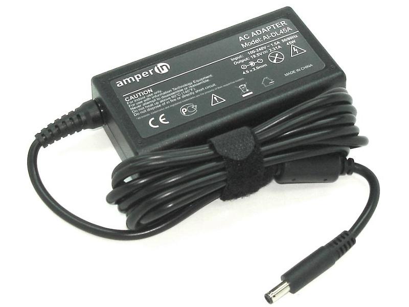 блок питания amperin ai hp90c для hp pavilion 15 e 15 n series hp 19 5v 4 62a 4 5x3 0mm 90w Блок питания Amperin AI-DL45A для Dell 19.5V 2.31A 4.5x3.0mm c иглой внутри 45W