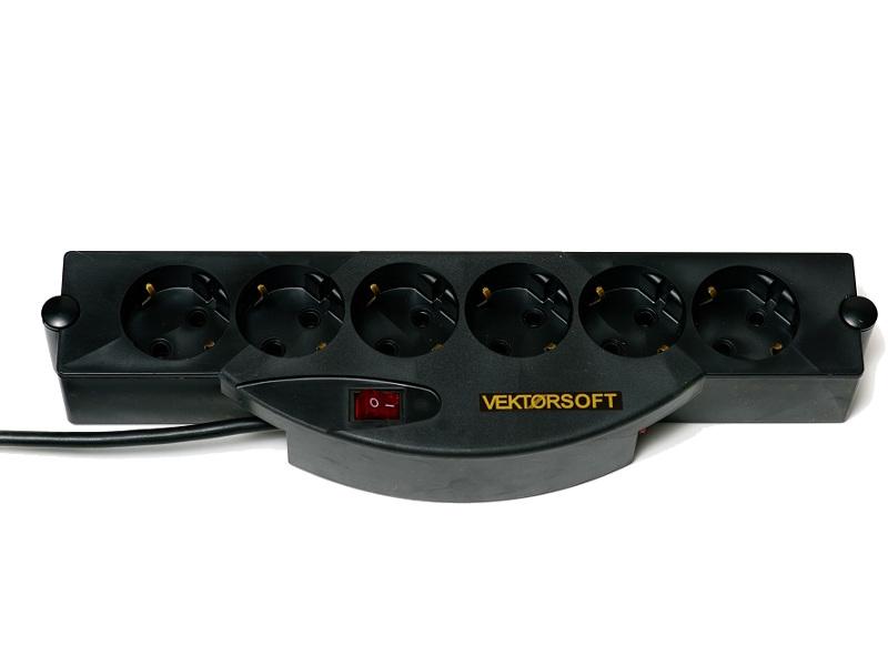 Купить Сетевой фильтр Vektor Soft 6 Sockets Black 2m 15784