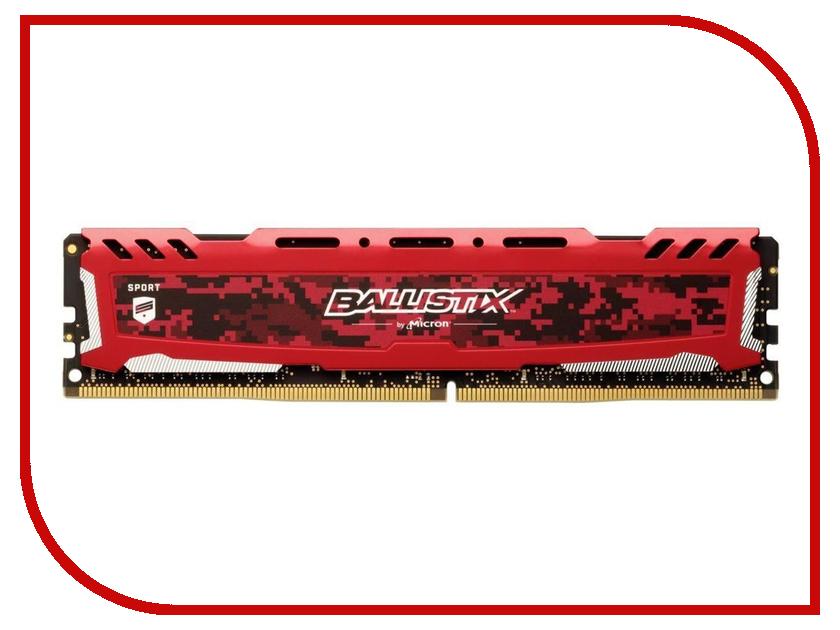 Купить Модуль памяти Crucial Ballistix Sport LT Red DDR4 DIMM 2666MHz PC4-21300 CL16 - 8Gb BLS8G4D26BFSEK